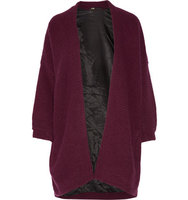 Maje Maje Oversized Ribbed Knit Cardigan Burgundy