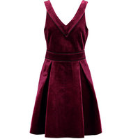 Maje Maje Pleated Velvet Dress Plum