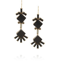 Marni Marni Gold Plated Horn And Crystal Earrings Black