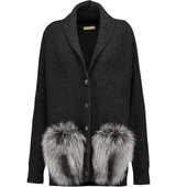 Michael Kors Collection Michael Kors Collection Faux Fur Trimmed Ribbed Cashmere Cardigan Charcoal