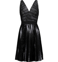 Proenza Schouler Proenza Schouler Paneled Coated Seersucker And Crepe Dress Black