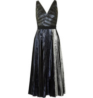 Proenza Schouler Proenza Schouler Pleated Metallic Coated Cloqu Dress Black