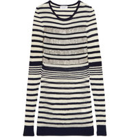 Sonia Rykiel Sonia Rykiel Beaded Striped Wool Blend Sweater Navy