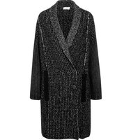Sonia Rykiel Sonia Rykiel Double Breasted Stretch Wool Blend Coat Black