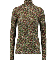 Sonia Rykiel Sonia Rykiel Floral Print Stretch Jersey Turtleneck Top Brown