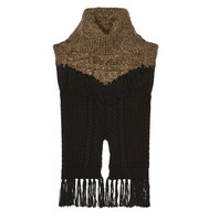 Thakoon Thakoon Addition Fringed Cable Knit Wool Blend Sweater Mushroom
