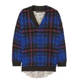 Thakoon Thakoon Boucl Knit And Printed Silk Sweater Bright Blue