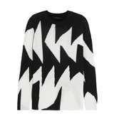 Thakoon Thakoon Intarsia Linen And Cotton Blend Sweater Black