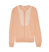 Valentino Valentino Beaded Wool Silk And Cashmere Blend Cardigan Antique Rose