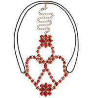 Valentino Valentino Gold Tone Crystal Headpiece Red
