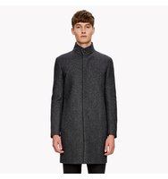 Wool Melton Textured Stand Collar Coat