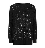 Topshop Holey Punk Long Line Jumper