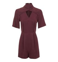 Topshop Jacquard Twist Neck Playsuit