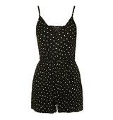 Topshop Plisse Polka Dot Playsuit