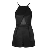Topshop Satin Mesh Playsuit