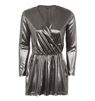 Topshop Silver Wrap Playsuit