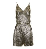 Topshop TALL Gold Leaf Plisse Playsuit
