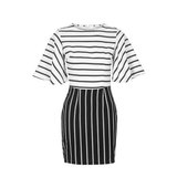 Topshop UK Cape Sleeve Stripe Shift by Rare