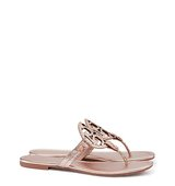 Tory Burch Miller Sandals Metallic Snake Print Leather