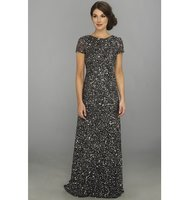 Adrianna Papell Cap Sleeve Scoop Back Beaded Down Gown Charcoal