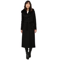 Calvin Klein Maxi Wool Belted with Faux Fur Collar Black