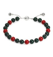 Gucci Boule Britt Bracelet w Red and Green Wooden Beads Silver Red Green