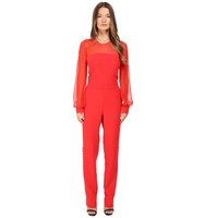 Prabal Gurung Long Sleeve Crew Neck Jumpsuit w Chiffon Combo Cherry